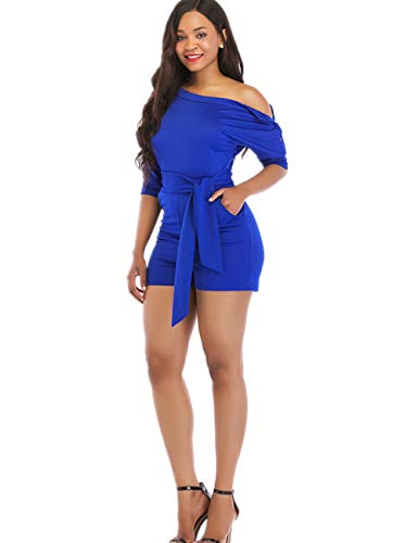 - One Shoulder Rompers for Women Shorts Elegant Night Sexy Casual Summer Jumpsuits Dress Wide Leg Pants Plus Size Blue L