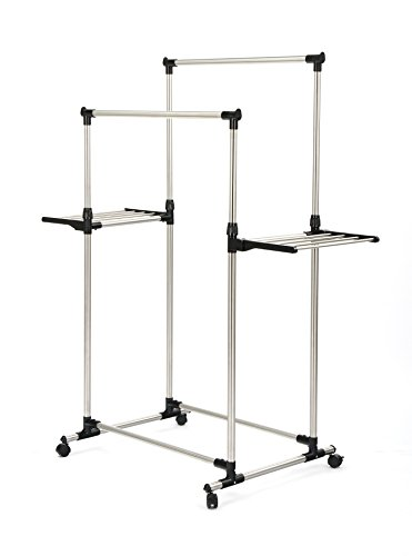 SUNPACE Double Rods Garment Rack Adjustable Wings Shape Clot
