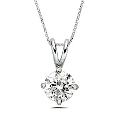Abelini 110 carat certified 100 natural round solitaire diamond abelini 110 carat certified 100 natural round solitaire diamond pendant necklace for women in 18k white gold amazon jewellery aloadofball Images