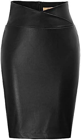 Albaricoque flor Nueva 2020 Mujeres PU Cuero Lápiz Falda Rojo/Negro Imitación De Cuero Asimétrico Faldas Oficina Señora Longitud De La Rodilla De Moda
