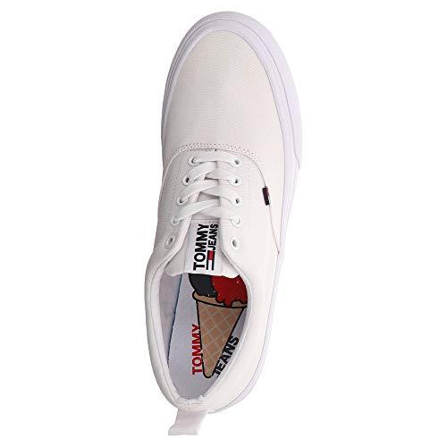 white 100 Denim Tommy Hilfiger Jeans Classic Bianco Sneaker Uomo x0q8zUd8w