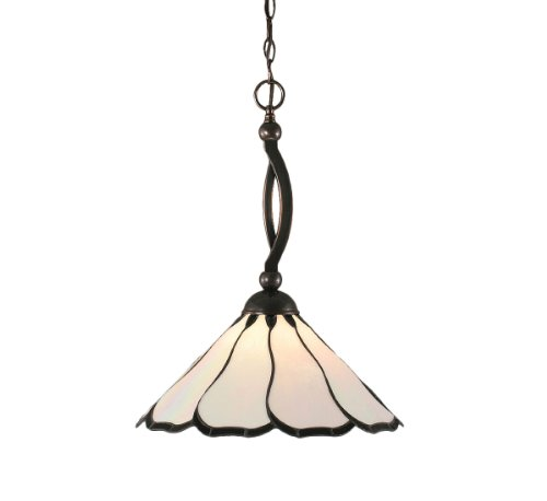 Toltec Lighting 271-BC-912 Bow One-Light Down light Pendant Black Copper Finish with Pearl and Black Flair Tiffany Glass, -
