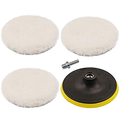 ANWTOTU 6 Inches Wool Polishing Buffer Pads with M14 Drill Adapter Kit: Automotive