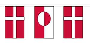 Groenlandia y Dinamarca material cadena banderas/Banderines de 10m (33') larga con 28banderas