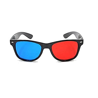 NiceWave Blue and Red 3D Eyeglasses Cyan Anaglyph Simple Style 3D Glasses Extra Upgrade Style to Fit Over Prescription Glasses for Movies Games