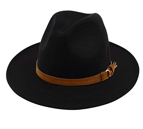 Lanzom Womens Classic Wide Brim Floppy Panama Hat Belt Buckle Wool Fedora Hat (One Size, Z Buckle Belt-Black) ()