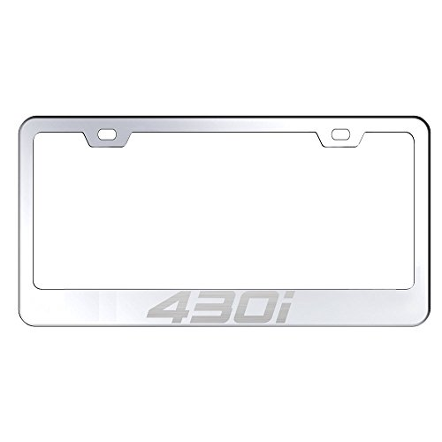 UFRAME 100% Stainless Steel License Plate Holder For BMW 430i With Real Laser Engraving on Chrome Mirror Finished Surface ()
