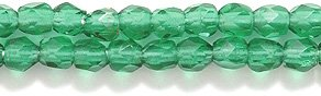 Preciosa Czech 3-mm Fire-Polished Glass Bead, Faceted Round, Transparent Dark Christmas Green, 400/pack