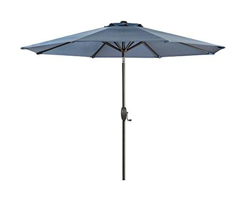 Ulax furniture 9 Ft Outdoor Umbrella Patio Market Umbrella Aluminum with Push Button Tilt&Crank, Sunbrella Fabric (Slate Blue) (Acrylic Umbrella)