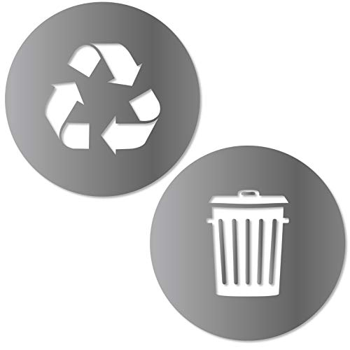 (Recycle and Trash Sticker Logo Style 2 (2.75in x2.75in) Symbol to Organize Trash cans or Garbage containers and Walls - XSmall Silver Metallic Vinyl Decal Sticker)