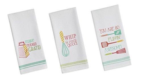 DII Flour Sack Printed Funny Quote Dishtowel Set of 3 Tea Towels