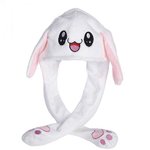 Funny Plush Hat Ear Moving/Jumping Rabbit Hat Cute Animal Ear Flap Hat with Paws for Women Girls - 7 Styles (Rabbit #3) - Dress Idol