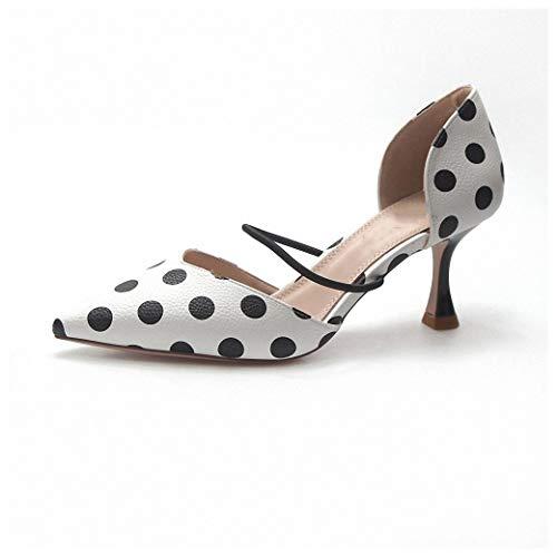 Tebapi Womens High-Heeled Pumps Shoes Summer Polka Dot Women Sandals Pointed Toe Women Stripe 6cm Thin Heel Ladies Slippers Comfortable Slip on Shoes Pumps Black White Dot 5 ()