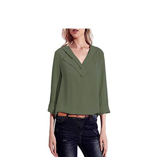 Cou Revers FuweiEncore des de Couleur Taille Taille Manches la color Vert Longues Femmes Plus M Blouse v La Mode Blanc Pure de des Tops pqC48