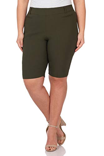 - Rekucci Women's Ease in to Comfort Curvy Fit Plus Size Modern City Short (20W,Olive)