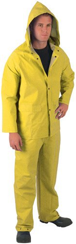 MCR Safety 2403S Classic Plus PVC/Polyester 3-Piece Corduroy Collar Rain Suit with Detachable Hood and Bibpant, Yellow, Small by MCR Safety (Image #5)