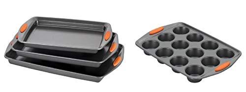 Rachael Ray Nonstick Bakeware 3pc Cookie Pan Set, Gray w/Orange Grips & 12-Cup Muffin Pan