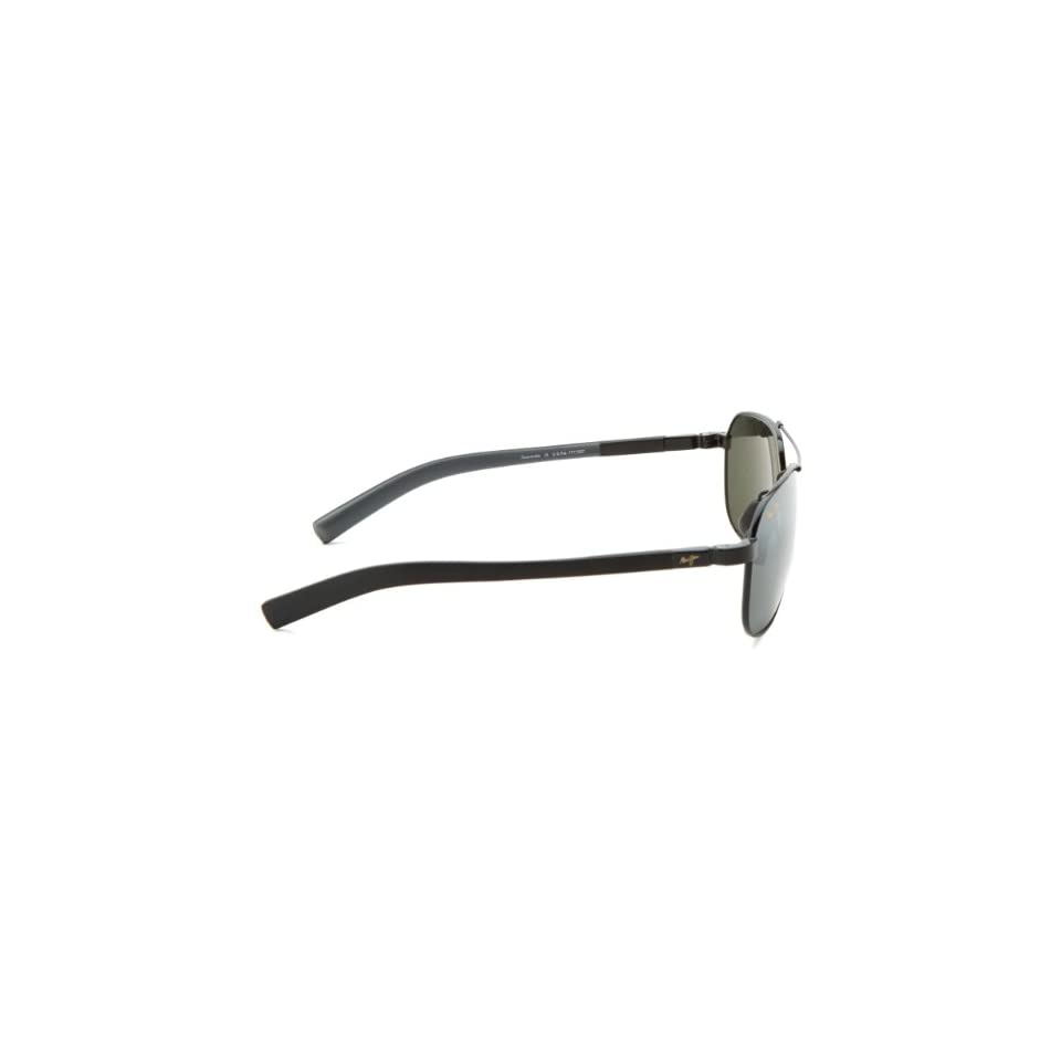 Maui Jim Guardrails 327 02 Polarized Aviator Sunglasses,Gloss Black Frame/Neutral Grey Lens,One Size Shoes