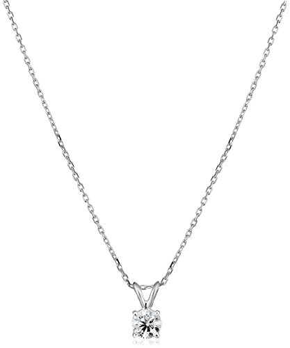 """IGI Certified 14k White Gold Round-Cut Diamond Pendant Necklace (0.50 cttw, H-I, Color, I1 Clarity), 16"""" with 2"""" extender"""