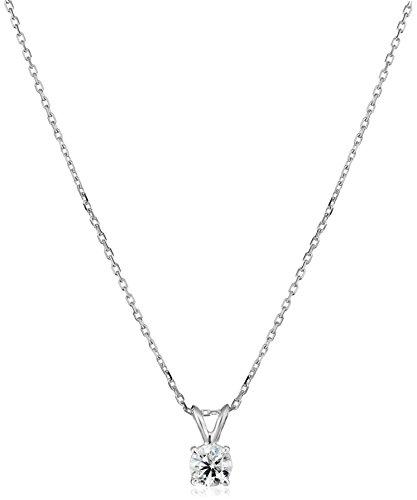 IGI Certified 14k Gold Round-Cut Diamond Pendant Necklace