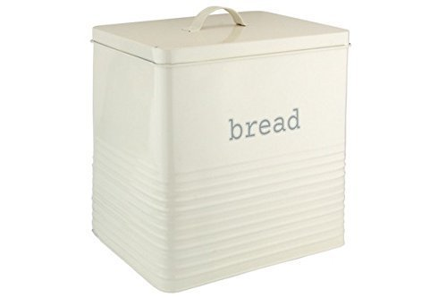 Ehc Square Bread Bin Canister Storage,Cream Elite Housewares
