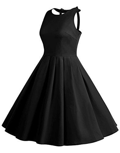 50s Vintage Des Femmes Berylove Pois Fête Swing Cocktail Rétro Bowknot Robe Noire