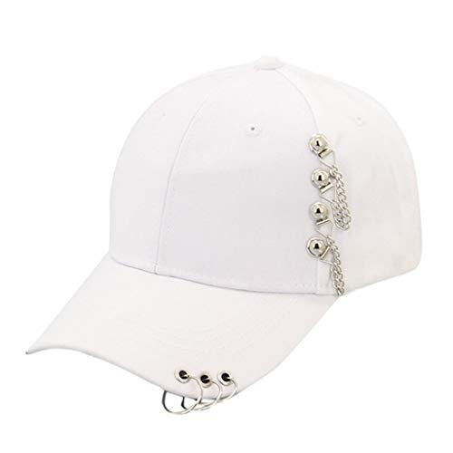 Dressin Rings Baseball Cap for Women Men Hip Hop Boys Casual Adjustable Trucker Hat Sun Hats White