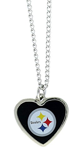 aminco NFL Pittsburgh Steelers Color Logo Heart Pendant