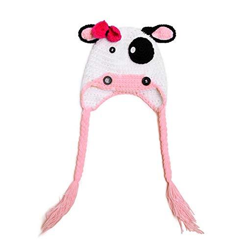 BIBITIME Handmade Knit Bowknot Ears Animal Cow Beanie Hat Baby Braid Earmuff Cap