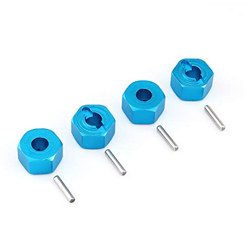 (Hosim 12mm Wheel Hex Hub Mount and Pins Aluminum 7mm Thick for 1:10 Traxxas Slash 4x4 & HQ 727 RC Cars Replacement Upgrade Parts(4PCS Blue))