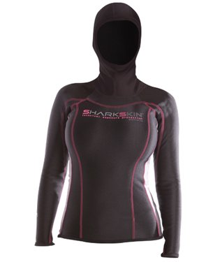 Sharkskin Women's Chillproof Hooded Long Sleeve Shirt for Scuba Diving, Surfing, Snorkeling, Etc. (Large) by Sharkskin
