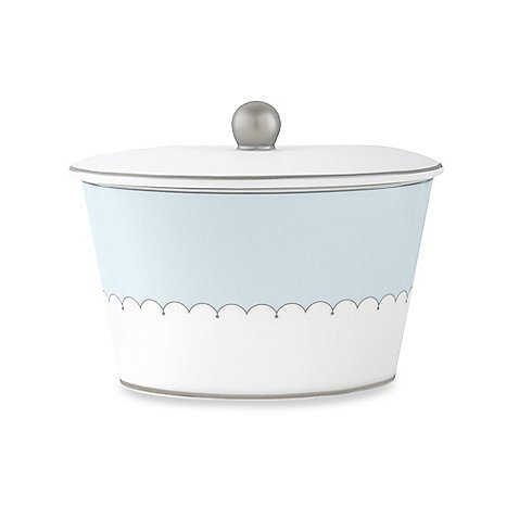 (Monique Lhuillier Lily Of The Valley Blue Covered Sugar Bowl, 3.5
