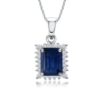 Angara Sapphire Diamond Triple Flame Pendant for Women in Platinum 9PiCM