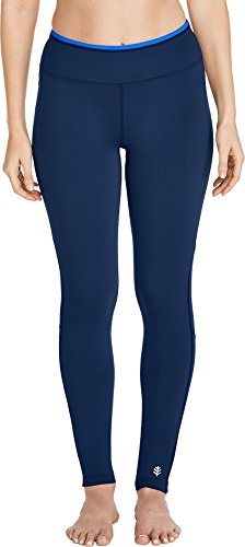 Coolibar UPF 50+ Women's Santa Cruz Swim Leggings - Sun Protective (Medium- Navy)