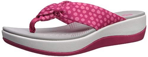 (Clarks Women's Arla Glison Flip-Flop, bright rose textile/pink dots, 9 M US)