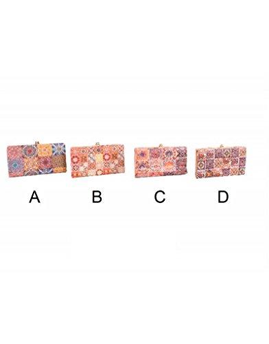 Home Line Metal Clasp Purse - Tile Pattern - D