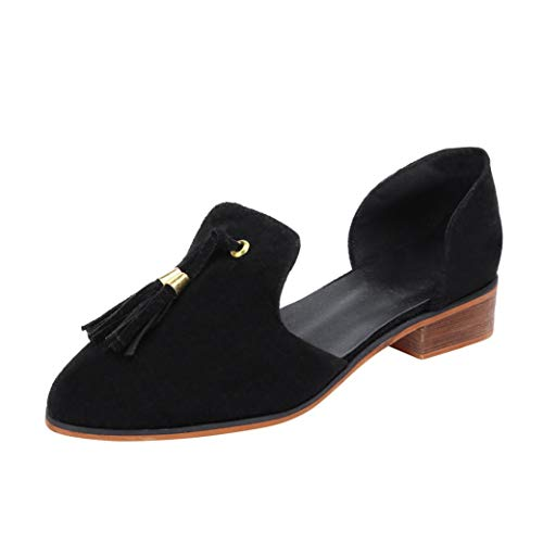 Women Shoes, Leedford Women Ladies Autumn Shoes Fashion Ankle Solid Tassels Leather Romon Single Shoes (Black, 39) by Leedford Women Shoes
