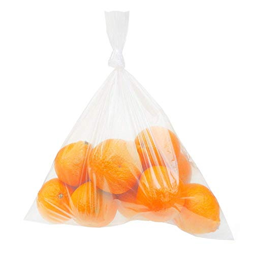 "Clear Plastic Bags, 12"" x 18"", 100 Pack, Flat with Opening on One Side"