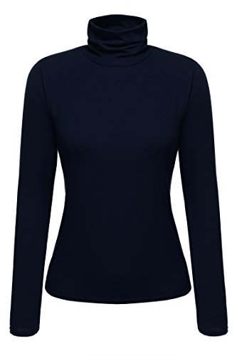 Cotton Tee Ribbed Womens (Zeagoo Women's Basic Slim Fit Long Sleeve Turtleneck T-Shirt Plus Top and Blouse (X-Large, Navy Blue))