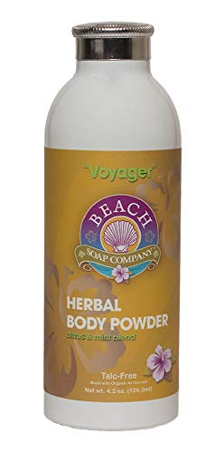 Talc Free Organic Body Powder, Voyager Scent is a blend of Peppermint and Blood Orange Essential Oil). Made and sold by Beach Organics. 4.2 oz.