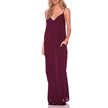 May&Maya Women's Low V-neck and Low V-back Maxi Dress (M, Purple)
