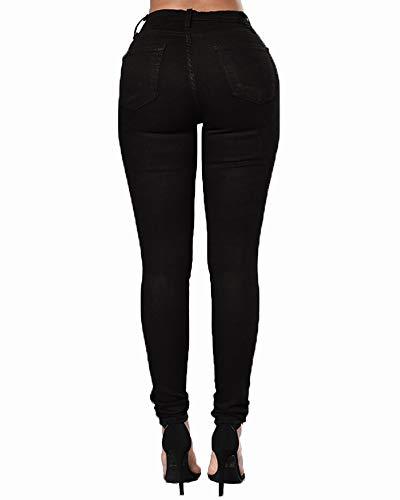 Cintura Negro Mujer De Leggings Pantalones Rotos Skinny ZhuiKunA Slim Elásticos con Alta xAHqw