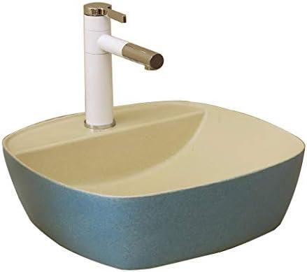 Minmin バスルームの洗面ホーム小さなアパートのセラミック単純なテーブル正方形のバスルーム、洗面台バルコニー洗濯プールバスルーム洗面41x41x14cm 芸術流域 (Size : 41x41x14cm)