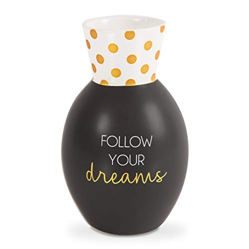 Pavilion - Follow Your Dreams - Black & Gold Polka Dot 6.5 Inch Matte Flower Vase