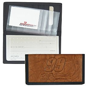 Carl Edwards Leather/Nylon Embossed Checkbook Cover