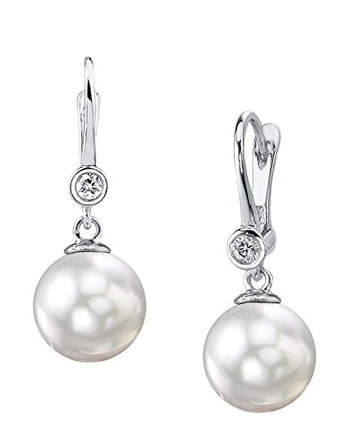 14K Gold 7.5-8.0mm White Akoya Cultured Pearl & Diamond Michelle (14k White Gold Diamond Dangle Earrings)