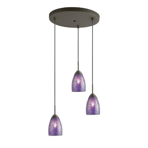 - Woodbridge Lighting 13224MEB-M20PUR Venezia 3-Light Multi-Light Pendant, Metallic Bronze