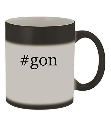 #gon - 11oz Color Changing Hashtag Sturdy Ceramic Coffee Cup Mug, Matte Black -
