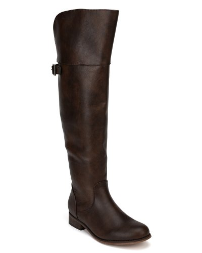 Alrisco Breckelles AF44 Women Leatherette Buckle Round Toe Riding Boot Light Brown