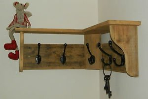 RusticWoodenCrafts Reclaimed wood Hat and Coat Rack with shelf Rustic Shabby Eco 3 hooks = 58cm